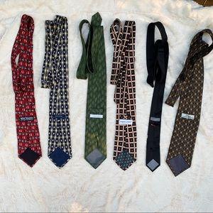 Six silk Men's Ties, Variety of Brands